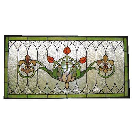 Glaspaneel Tiffany 82*41 cm Groen   5LL-5305   Clayre & Eef