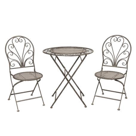 Tafel + 2 stoelen ø 70*76 cm / 40*47*94 cm (2) Grijs | 5Y0693 | Clayre & Eef