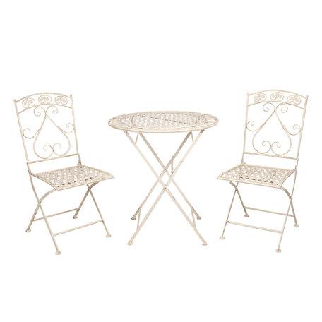 Tafel + 2 stoelen ø 70*76 cm / 39*48*91 cm (2) Wit | 5Y0696 | Clayre & Eef