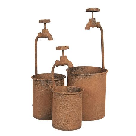 Planthouder  (set van 3) ø 17*48 / ø 15*39 / ø12*32 cm  ( set 3) Bruin | 6Y3576 | Clayre & Eef