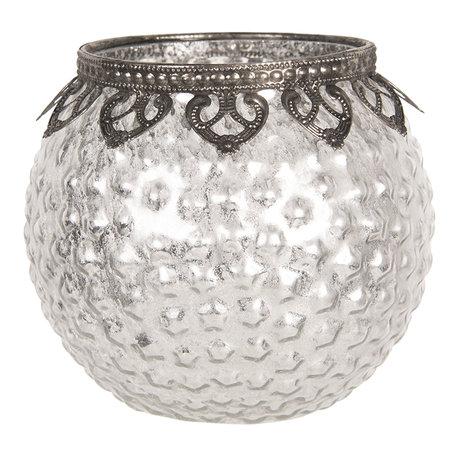 Waxinelichthouder ø 13*12 cm Zilverkleurig | 6GL2655 | Clayre & Eef