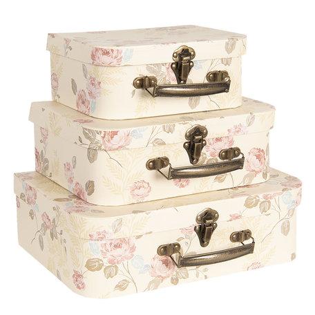 Decoratie koffer (3) 30*21*9/25*18*9/20*16*8 cm Meerkleurig   CC60024   Clayre & Eef