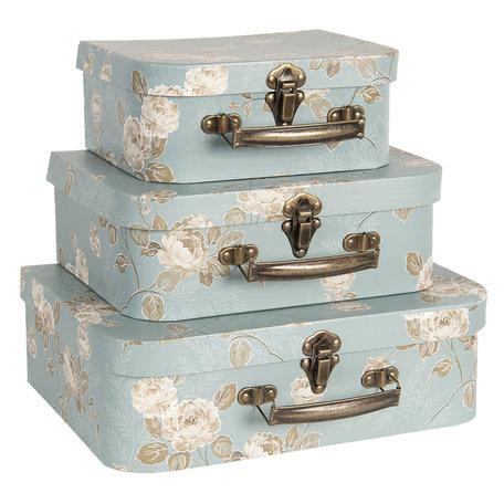Decoratie koffer (3) 30*21*9/25*18*9/20*16*8 cm Meerkleurig   CC60026   Clayre & Eef