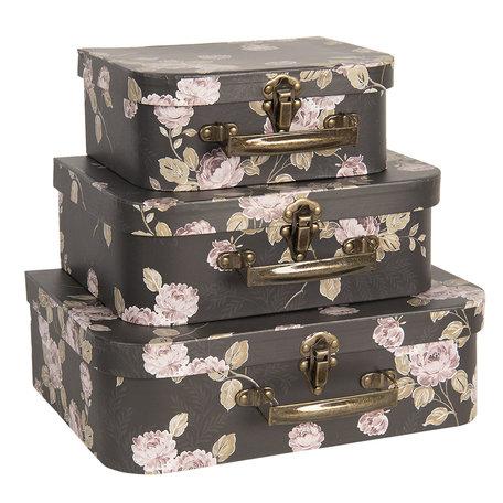 Decoratie koffer (set van 3) 30*21*9/25*18*9/20*16*8 cm Meerkleurig   CC60027   Clayre & Eef