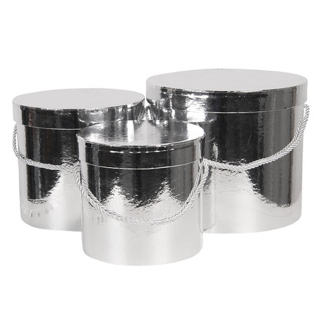 Hoedendoos (set van 3) ø 16*15 cm /ø 19*17 cm /ø 23*19  cm Zilverkleurig | CC60036ZI | Clayre & Eef