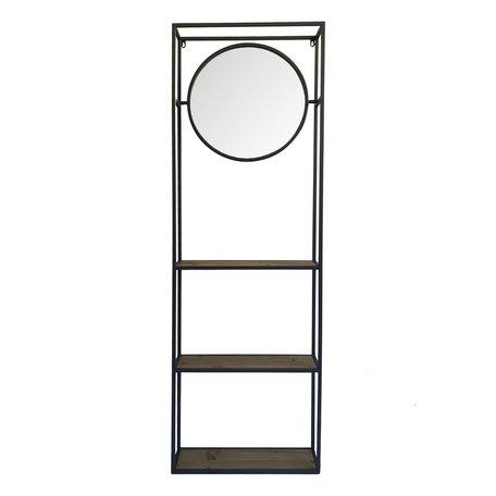 Spiegel met schap 53*15*165 cm Zwart   52S186   Clayre & Eef