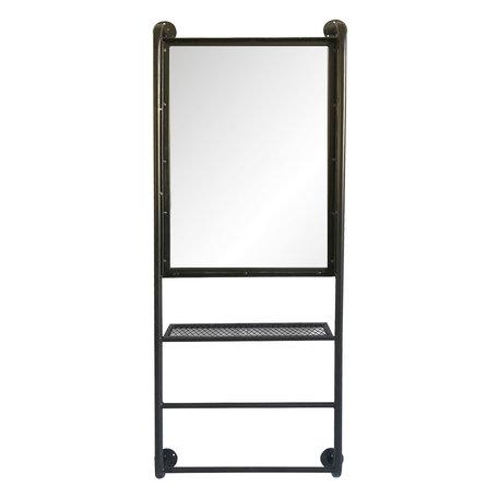 Spiegel met schap 48*10*124 cm Zwart   52S187   Clayre & Eef