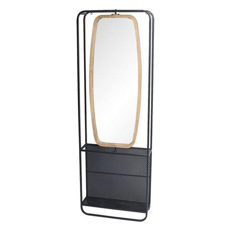 Spiegel met schap 54*16*160 cm Zwart   52S188   Clayre & Eef