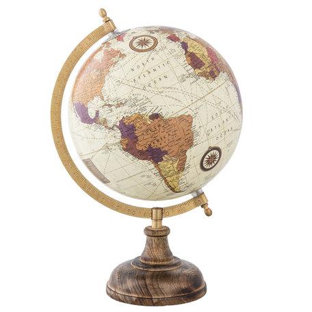 Wereldbol/globe 22*20*33 cm Meerkleurig | 63959 | Clayre & Eef