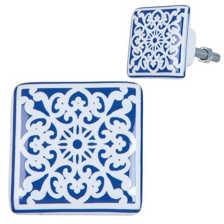 2 STUKS Deurknop 3*2*3 cm Blauw   63415   Clayre & Eef