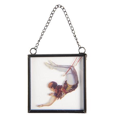 2 STUKS Hanger in glas 7*1*7 cm Meerkleurig | 64393 | Clayre & Eef