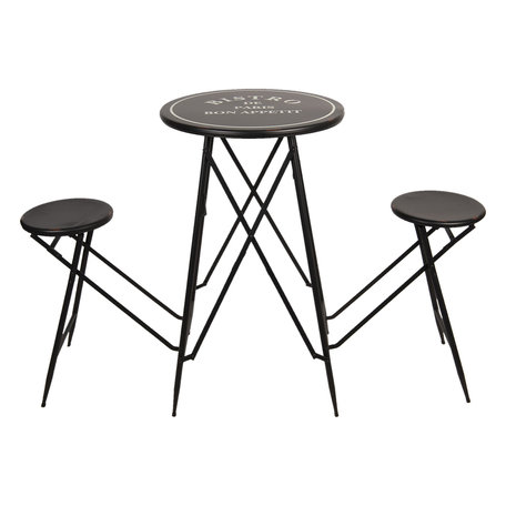 Picknicktafel 61*61*101 cm Zwart | 5Y0659 | Clayre & Eef