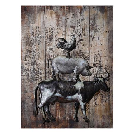 Wanddecoratie 3 dieren 60*80*6.5 cm Meerkleurig | JJWA00078 | Clayre & Eef