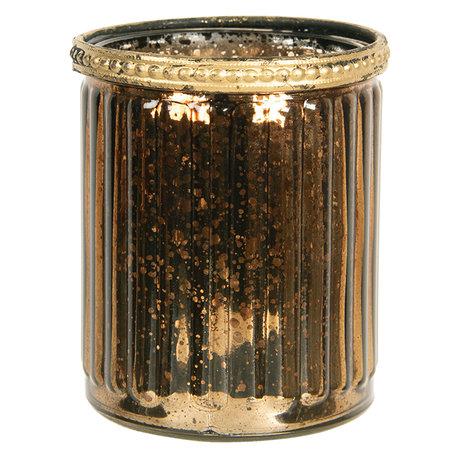 Waxinelichthouder ø 8*9 cm Bruin | 6GL2634 | Clayre & Eef