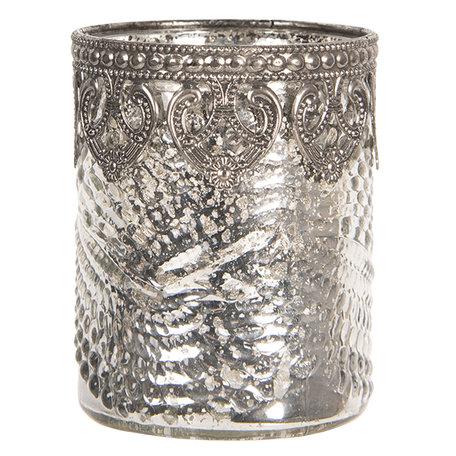 Waxinelichthouder ø 7*8 cm Zilverkleurig | 6GL2653 | Clayre & Eef