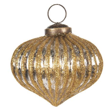 Kerstbal ø 8 cm Goudkleurig | 6GL2671 | Clayre & Eef