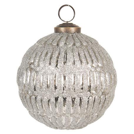 Kerstbal ø 10 cm Zilverkleurig | 6GL2674 | Clayre & Eef