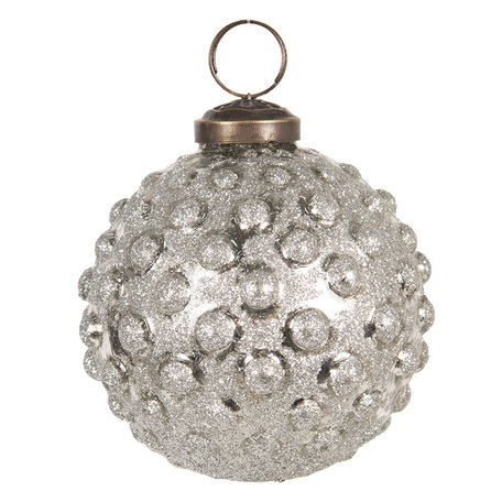 Kerstbal ø 8 cm Zilverkleurig | 6GL2675 | Clayre & Eef