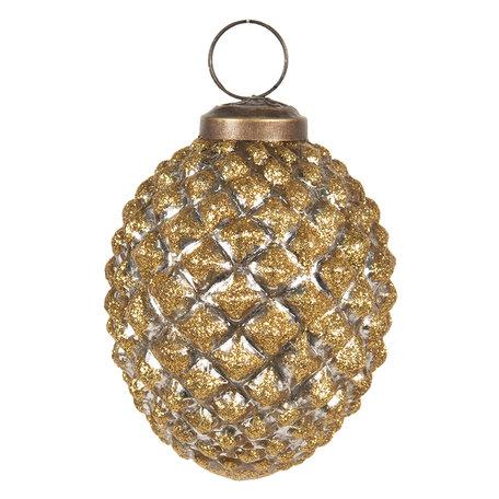 Kerstbal ø 8 cm Goudkleurig | 6GL2676 | Clayre & Eef