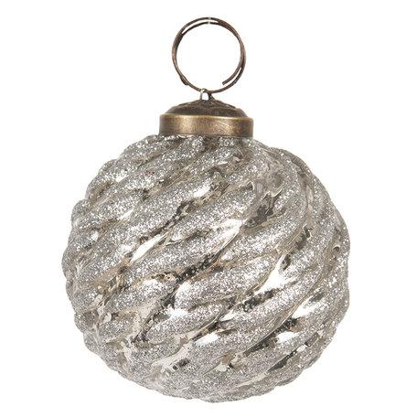 Kerstbal ø 8 cm Zilverkleurig | 6GL2677 | Clayre & Eef