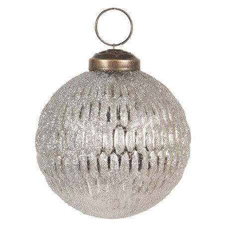 Kerstbal ø 8 cm Zilverkleurig | 6GL2680 | Clayre & Eef