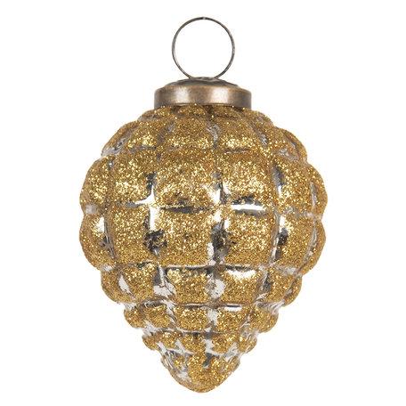 Kerstbal ø 8 cm Goudkleurig | 6GL2687 | Clayre & Eef