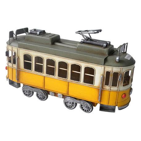 Model tram 31*10*17 cm Geel   JJAU0020   Clayre & Eef