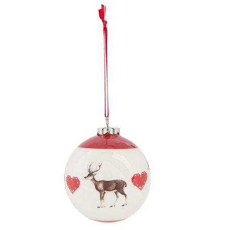 Kerstbal ø 8*9 cm Rood | 6CE0736 | Clayre & Eef