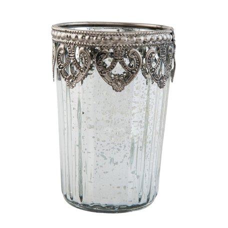 Waxinelichthouder ø 7*10 cm Zilverkleurig | 6GL1849 | Clayre & Eef