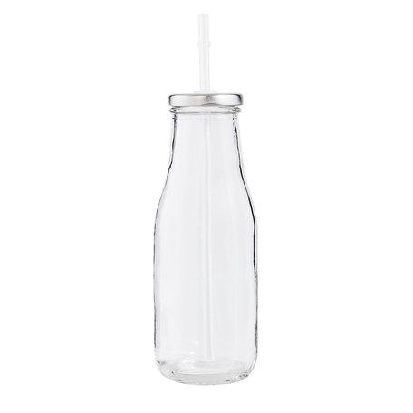 2 STUKS Fles met rietje ø 6*19 cm / 0.4L Transparant | 6GL1920 | Clayre & Eef