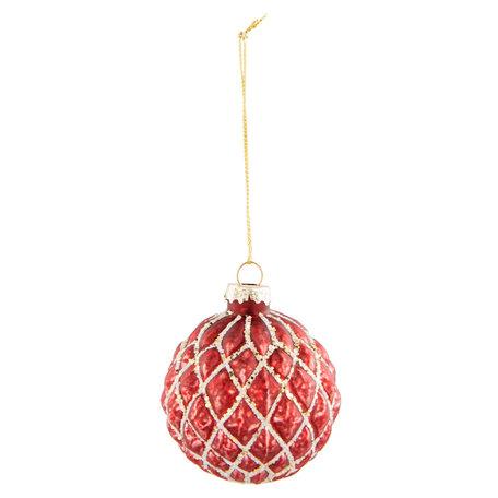 2 STUKS Kerstbal ø 6*7 cm Rood | 6GL2300R | Clayre & Eef