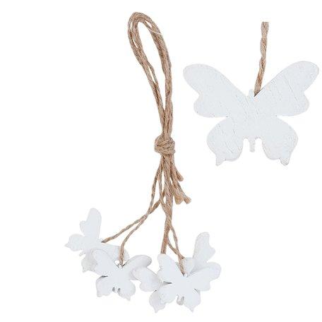 2 STUKS Hanger vlinder 3*14 cm Wit | 6H1042 | Clayre & Eef