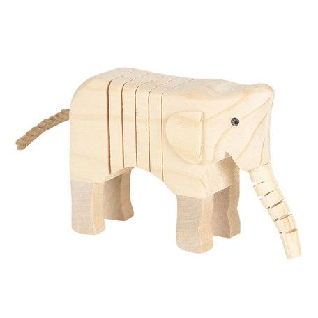 Decoratie houten olifant 4*9*11 cm Bruin | 6H1835 | Clayre & Eef