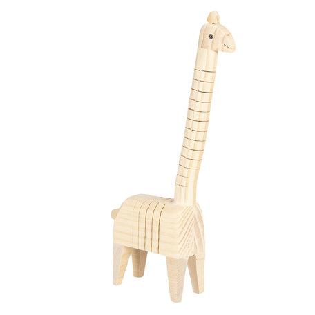 Decoratie houten giraffe 4*6*24 cm Bruin | 6H1836 | Clayre & Eef