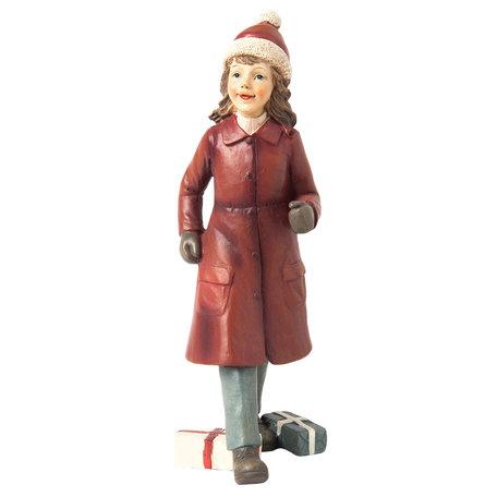 Decoratie beeld meisje 7*8*19 cm Rood | 6PR1135 | Clayre & Eef