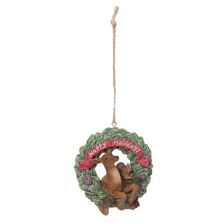 Decoratie hanger hert 7*5*9 cm Multi | 6PR1188 | Clayre & Eef