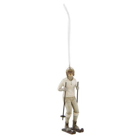 Decoratie hanger hond 4*6*12 cm Wit | 6PR2265 | Clayre & Eef