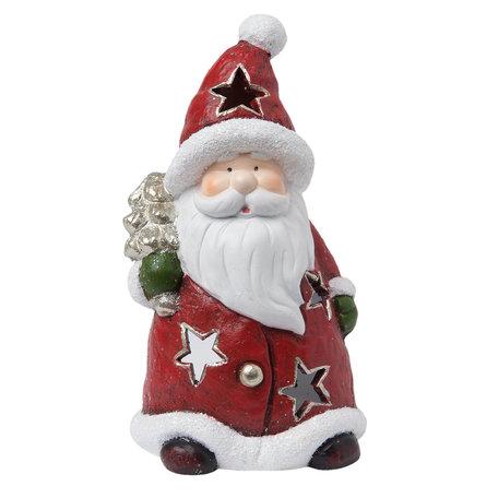 Waxinelichthouder kerstman 12*10*22 cm Meerkleurig | 6TE0147 | Clayre & Eef