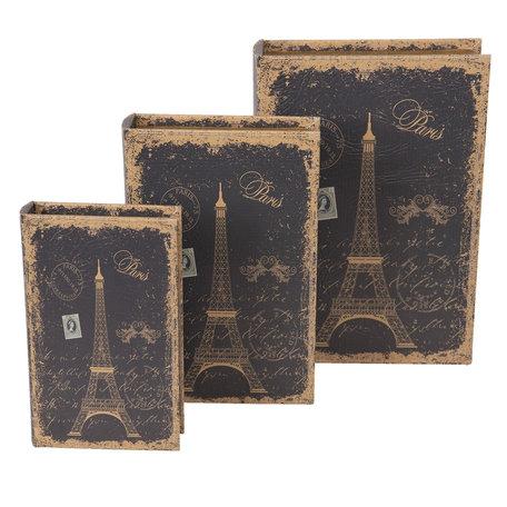 Boekenkluis 30*21*7/26*17*5/21*13*3 cm Bruin | CC6H0005 | Clayre & Eef