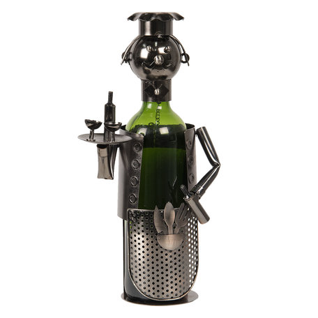 Flessenhouder kelner 10*12*20 cm Grijs   CC6Y0014   Clayre & Eef