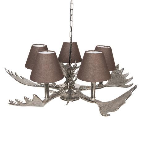 Hanglamp ø 64*29 cm E14/max 5*25W Zilverkleurig | 5LMP263 | Clayre & Eef