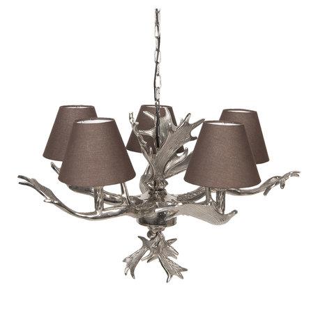 Hanglamp ø 57*38 cm E14/max 5*25W Zilverkleurig | 5LMP264 | Clayre & Eef