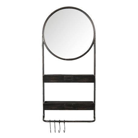 Spiegel met schap 38*12*89 cm Zwart   52S194   Clayre & Eef