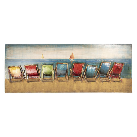 Wanddecoratie strandstoelen 160*7*60 cm Multi | 5WA0158 | Clayre & Eef