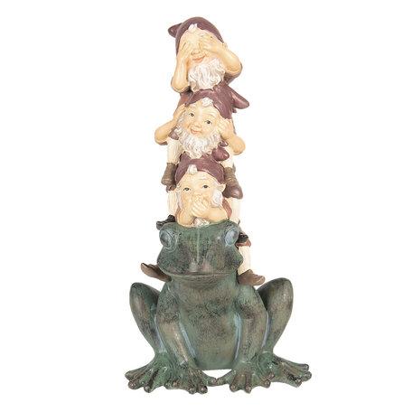 Decoratie kabouters op kikker 18*16*35 cm Meerkleurig | 6PR2646 | Clayre & Eef