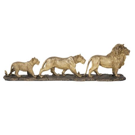 Decoratie leeuwenfamilie 64*10*18 cm Goudkleurig | 5PR0058 | Clayre & Eef