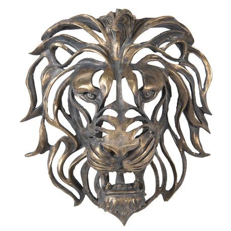 Decoratie leeuwen hoofd 42*23*46 cm Bruin | 6PR2811 | Clayre & Eef