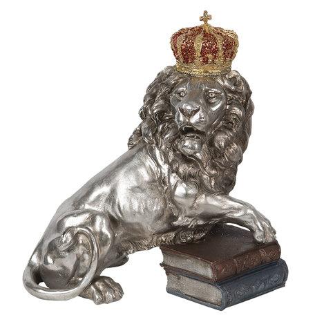 Decoratie leeuw 42*25*44 cm Zilverkleurig | 6PR2821 | Clayre & Eef