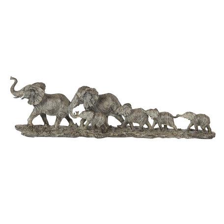 Decoratie olifanten familie 53*10*15 cm Bruin | 6PR2822 | Clayre & Eef