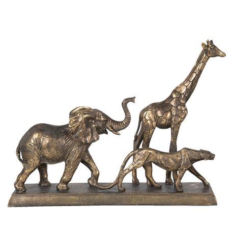 Decoratie wilde dieren 44*10*33 cm Zilverkleurig | 6PR2823 | Clayre & Eef